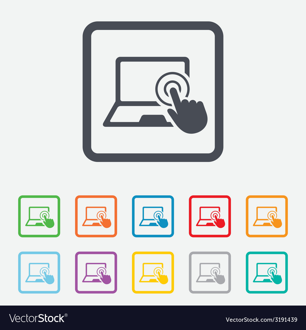 Touch screen laptop sign hand pointer symbol vector | Price: 1 Credit (USD $1)