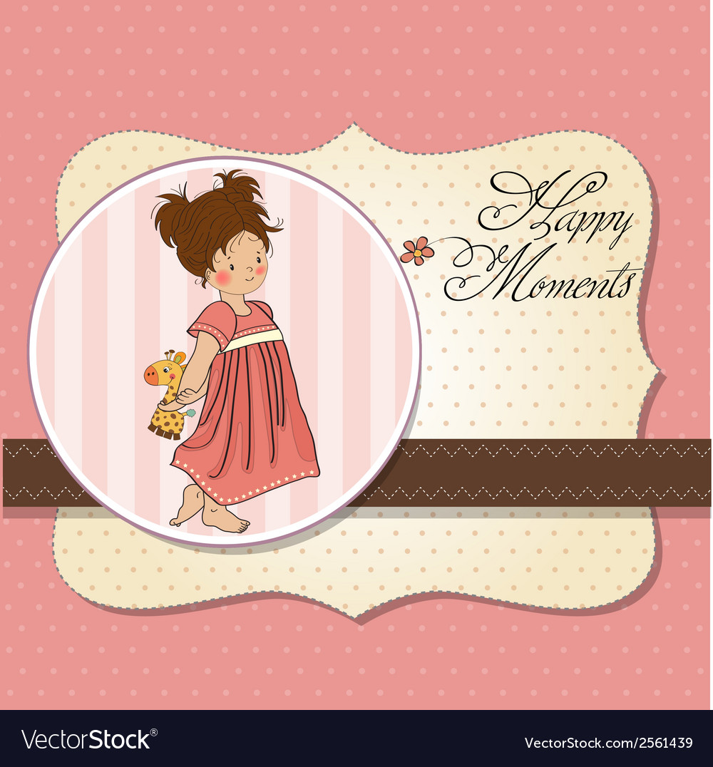 Young girl going to bed with her favorite toy a vector | Price: 1 Credit (USD $1)