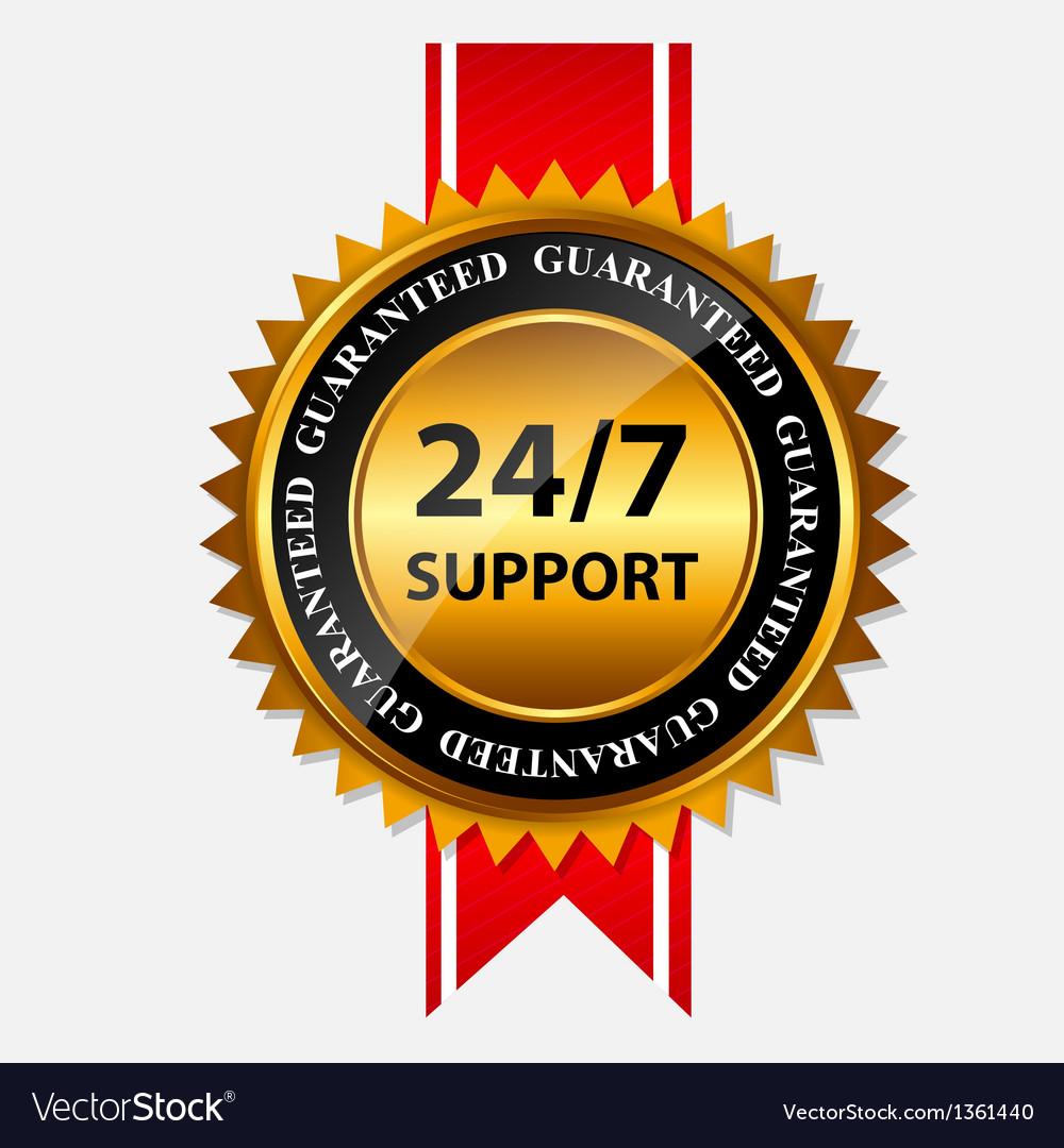 247 support gold sign label template vector | Price: 1 Credit (USD $1)