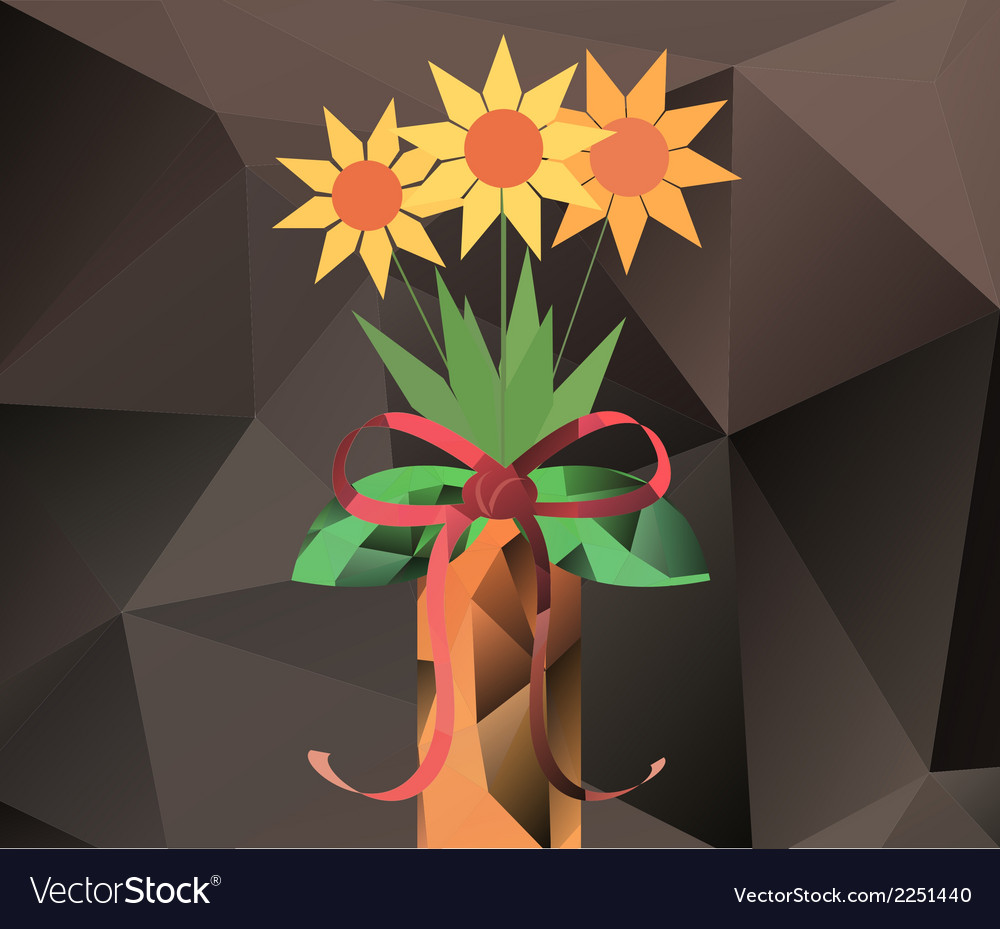 Abstract bouquet in vase - polygon graphics vector | Price: 1 Credit (USD $1)