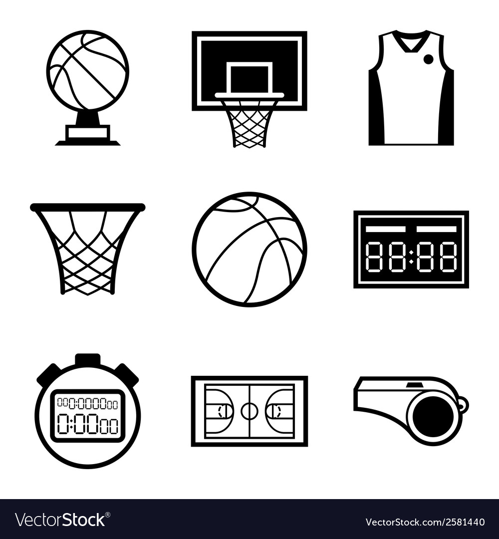 Basketball icon set in flat design style vector | Price: 1 Credit (USD $1)