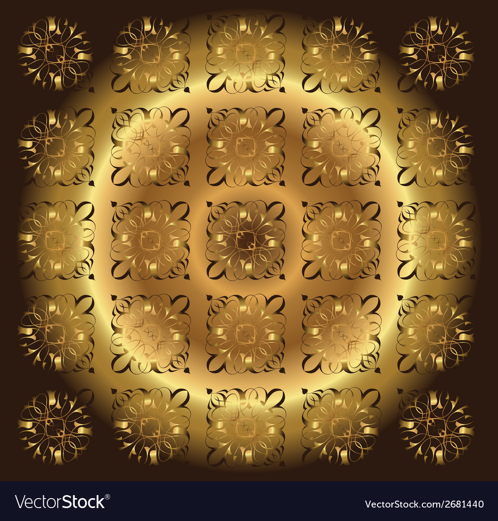 Beautiful circle brown golden floral background vector | Price: 1 Credit (USD $1)