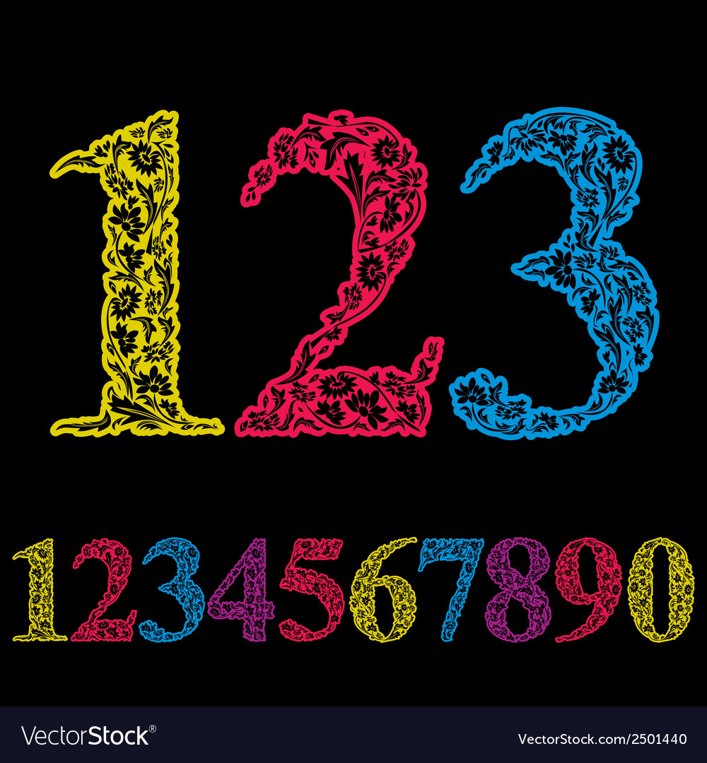 Beautiful floral numbers set numerals vector | Price: 1 Credit (USD $1)