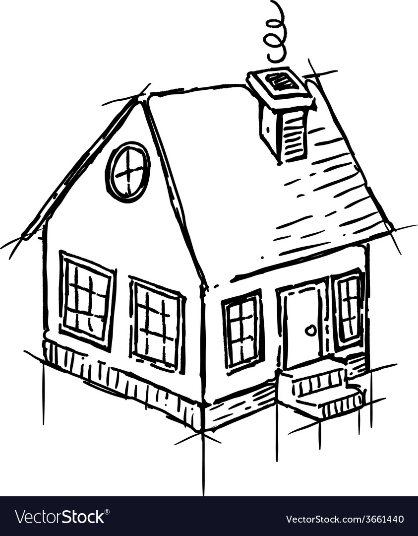 Black and white sketch of small house vector | Price: 1 Credit (USD $1)