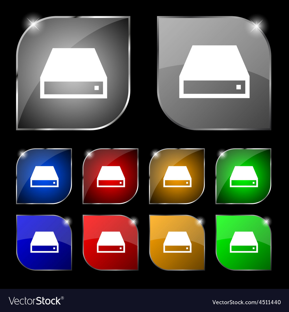 Cd-rom icon sign set of ten colorful buttons with vector | Price: 1 Credit (USD $1)