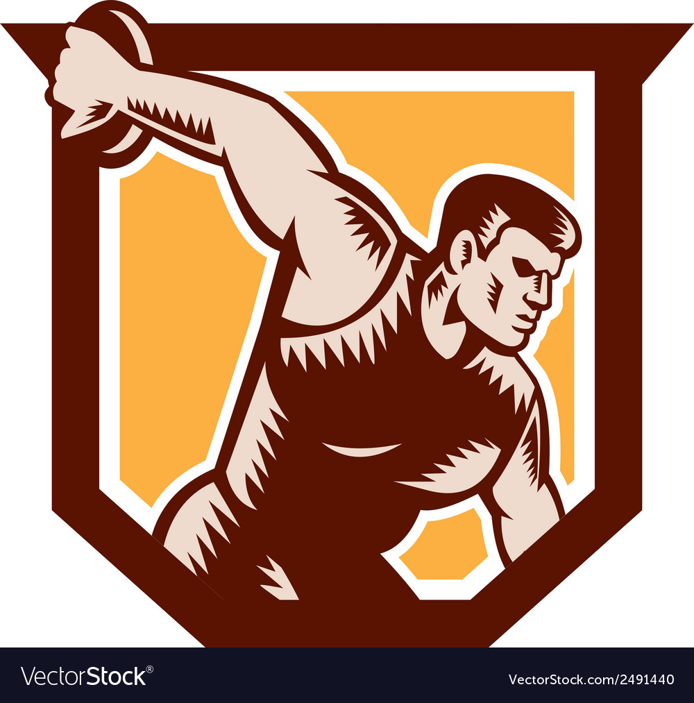 Discus thrower shield woodcut vector | Price: 1 Credit (USD $1)