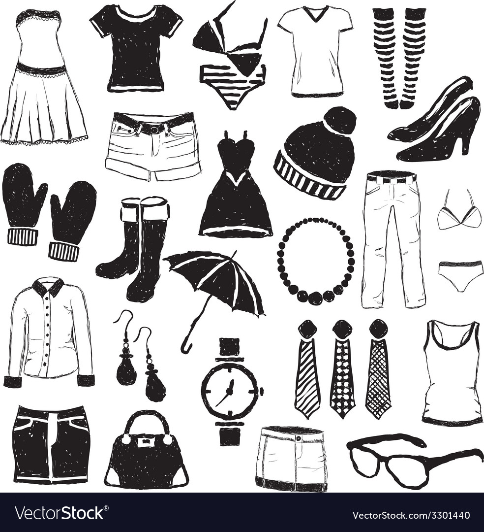 Doodle fashion images vector | Price: 1 Credit (USD $1)