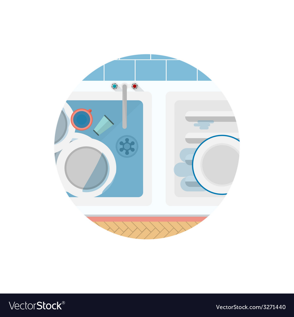 Flat icon for kitchen sink vector | Price: 1 Credit (USD $1)