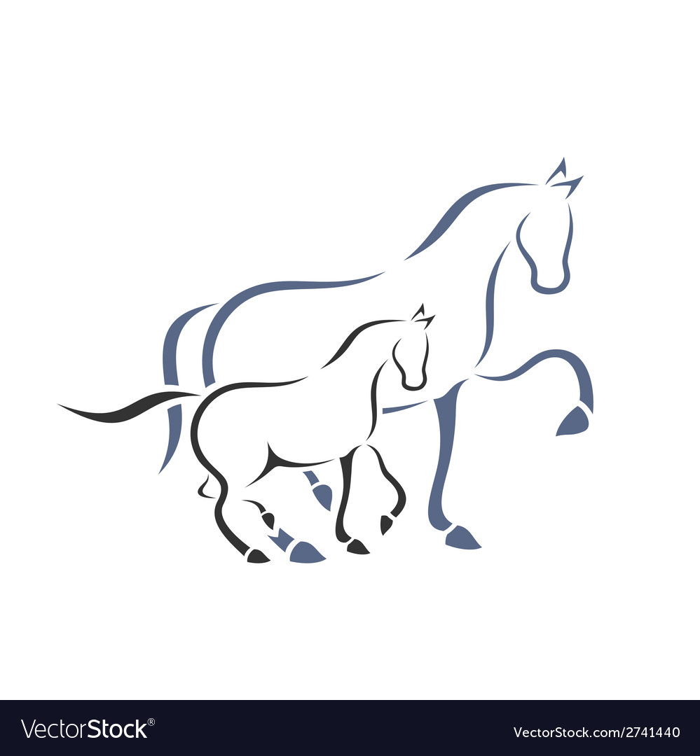 Horse and foal vector | Price: 1 Credit (USD $1)
