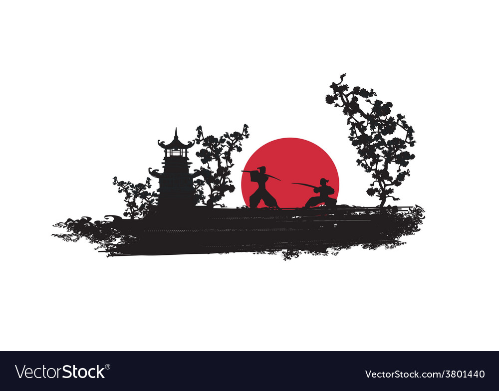 Japanese samurai fighter silhouette vector | Price: 1 Credit (USD $1)
