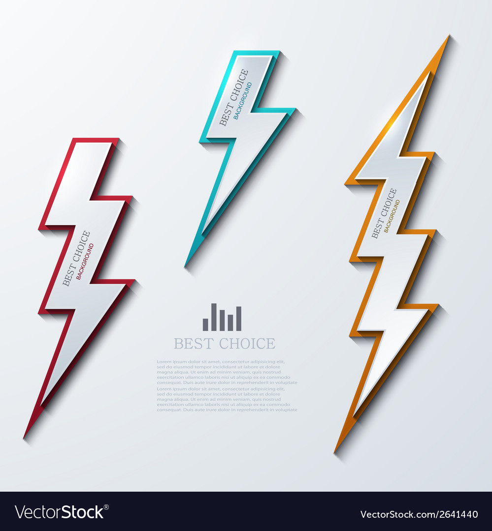 Lightning bolt banners set 3 variants vector | Price: 1 Credit (USD $1)