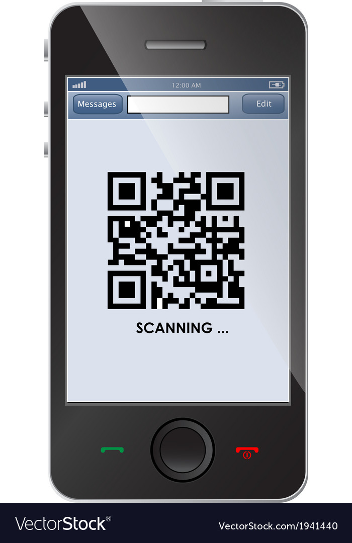Qr code on smart phone vector | Price: 1 Credit (USD $1)