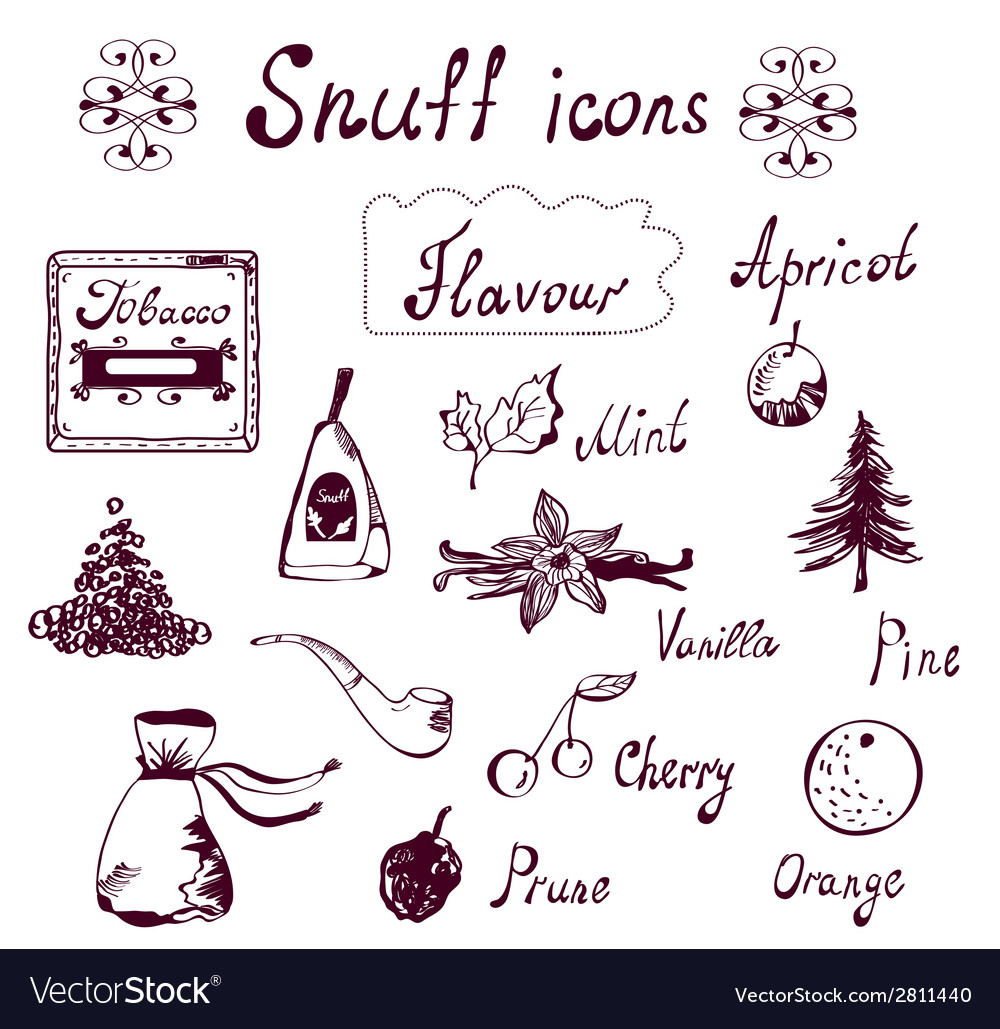Snuff and tabacco icons set vector | Price: 1 Credit (USD $1)