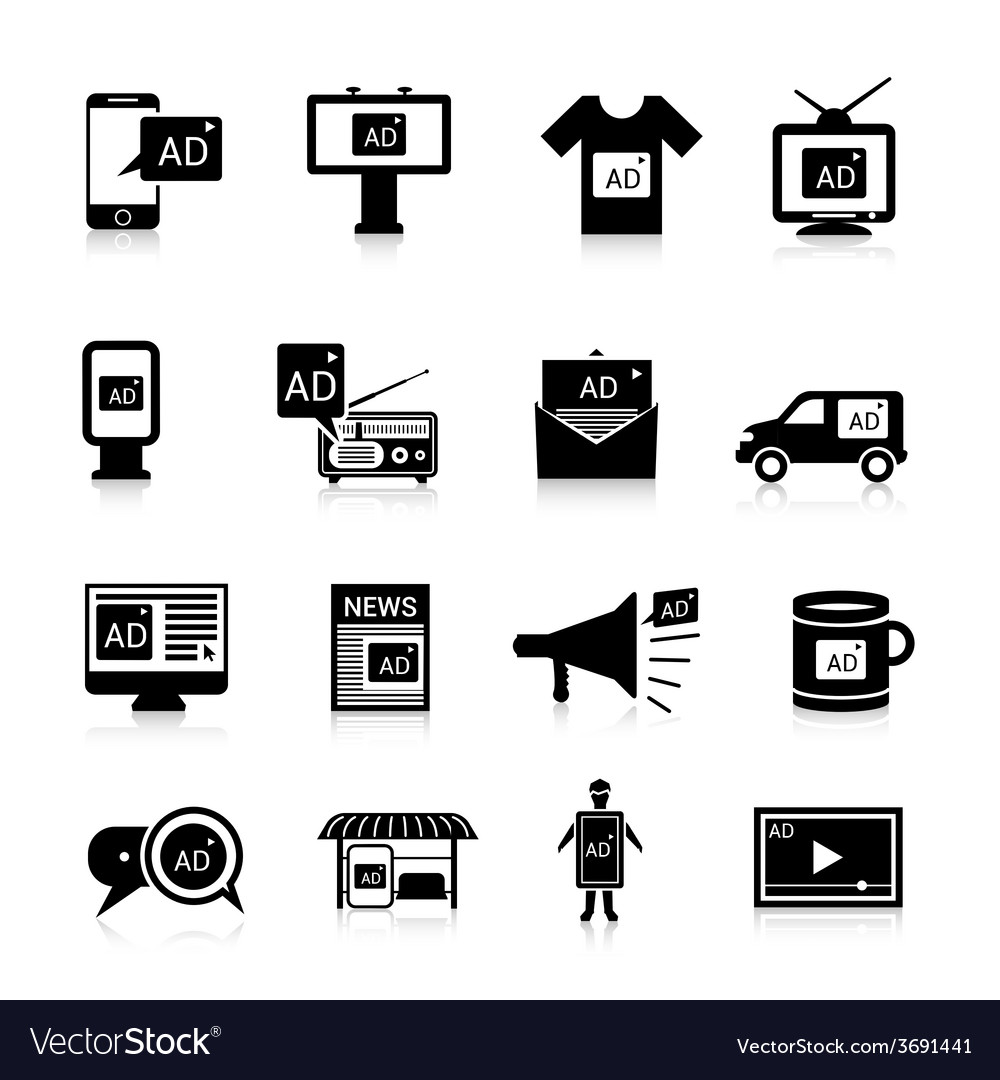 Advertising icons black vector | Price: 1 Credit (USD $1)