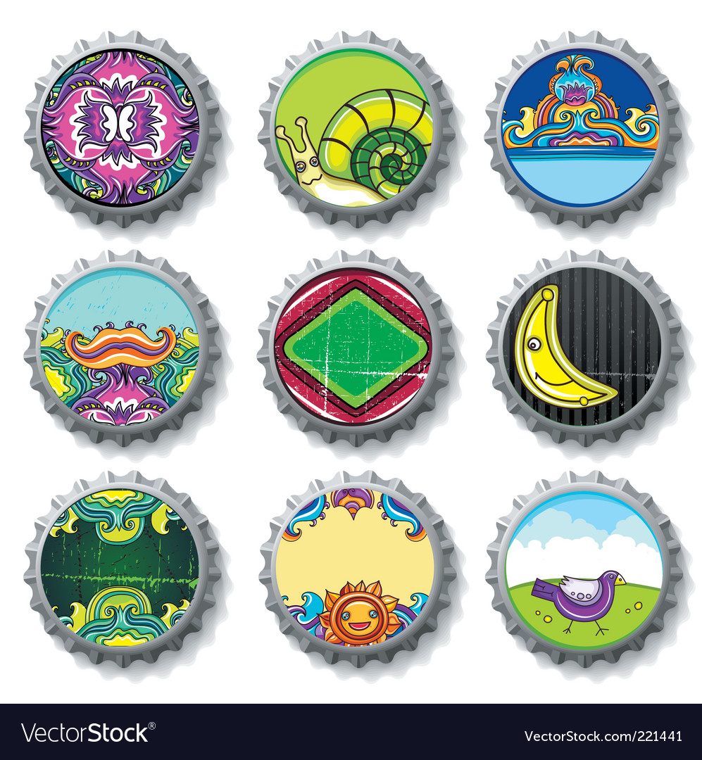 Bottle caps set vector | Price: 3 Credit (USD $3)