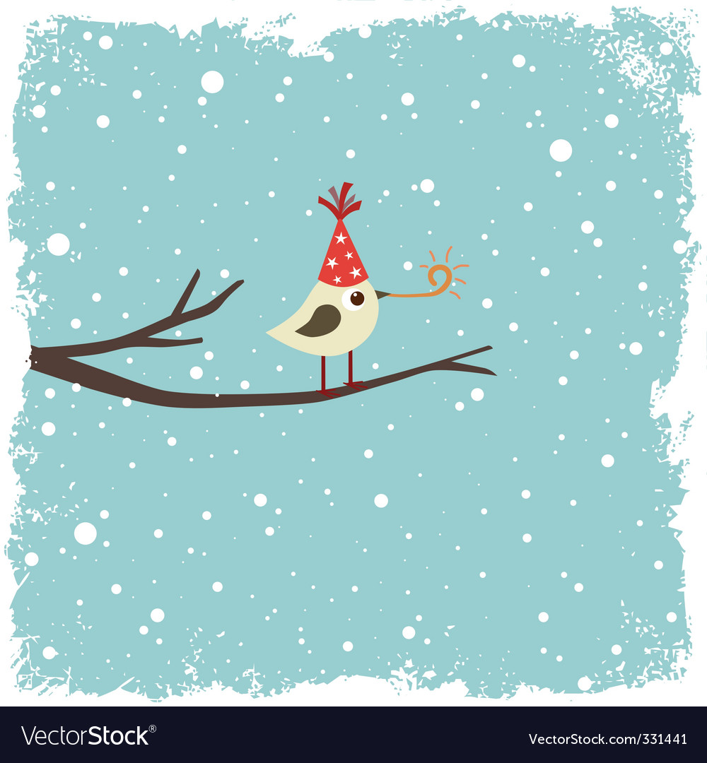 Christmas card with bird vector | Price: 1 Credit (USD $1)