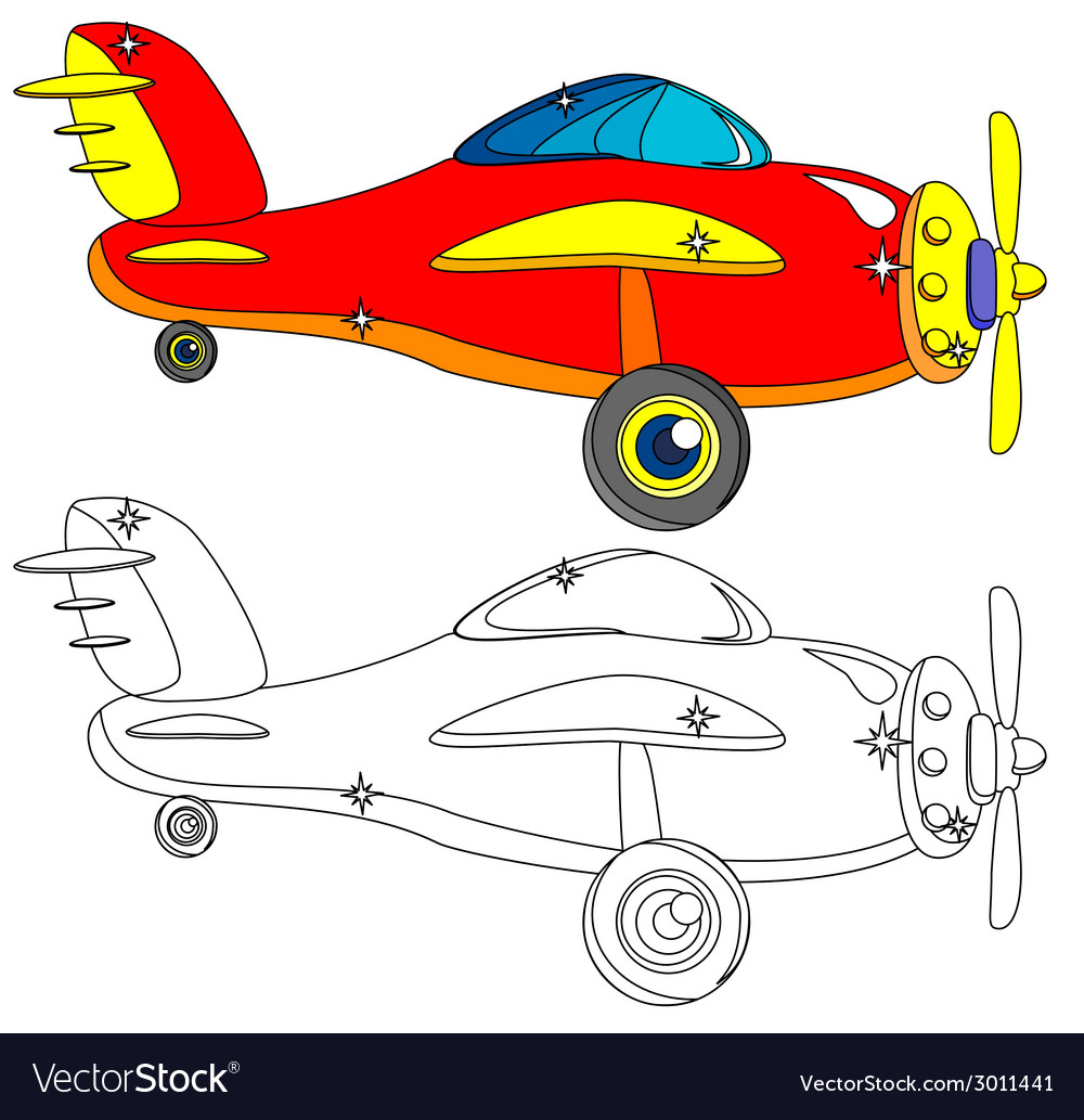 Color and outline version of the aircraft vector | Price: 1 Credit (USD $1)