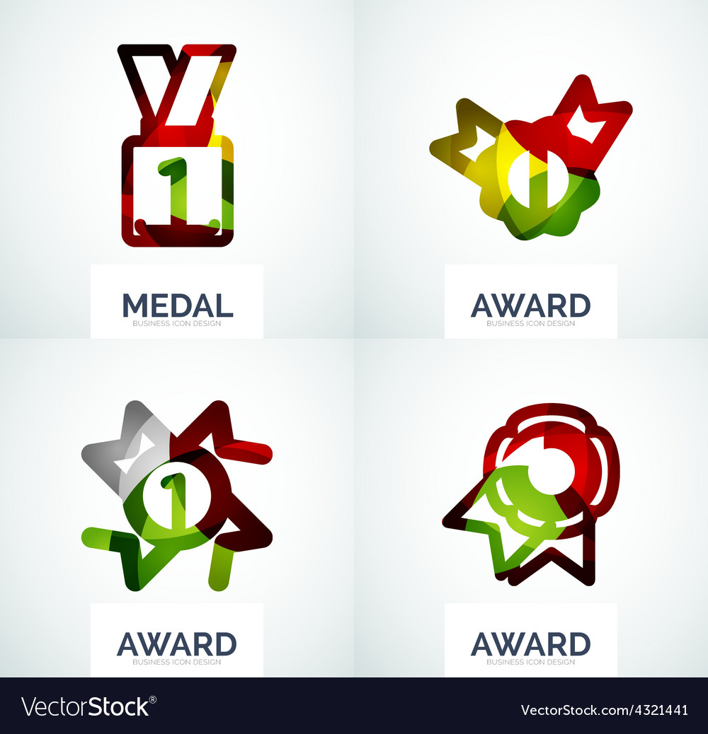 Colorful award business logo set vector | Price: 1 Credit (USD $1)