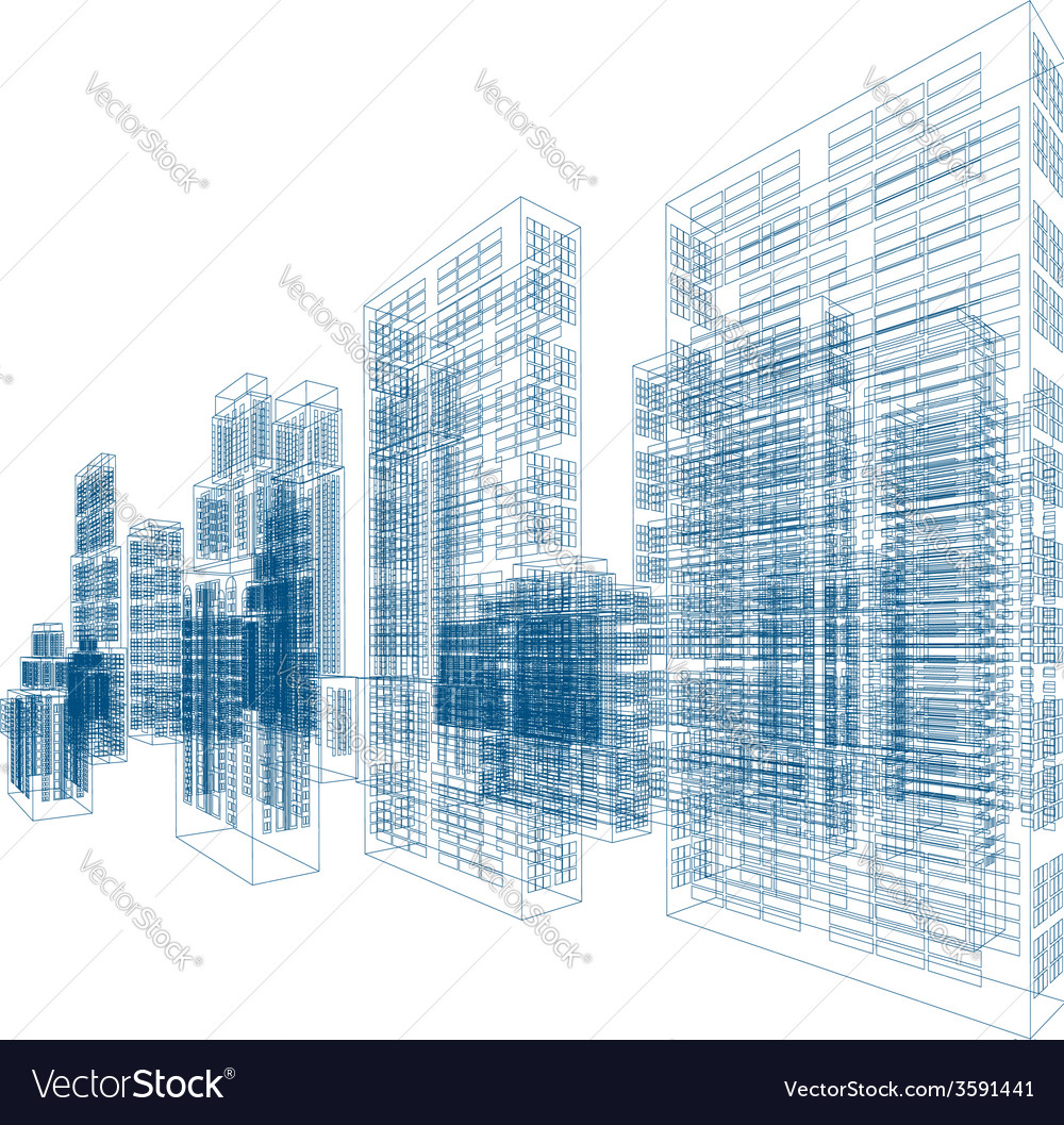 Drawings of skyscrapers and homes vector | Price: 1 Credit (USD $1)