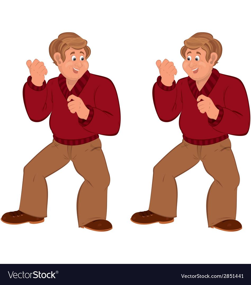 Happy cartoon man standing in red sweater vector | Price: 1 Credit (USD $1)