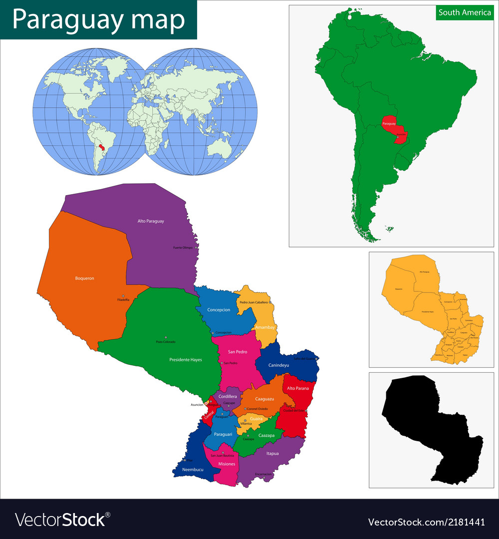 Paraguay map vector | Price: 1 Credit (USD $1)