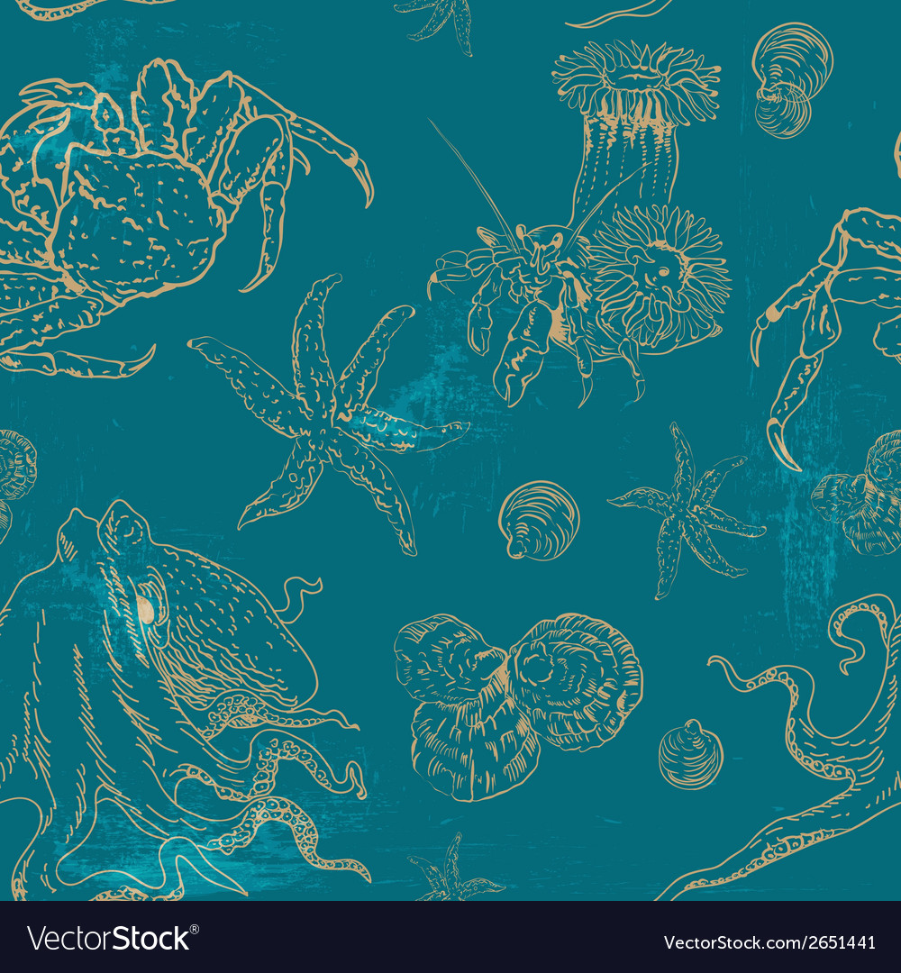 Pattern with invertebrates organisms vector | Price: 1 Credit (USD $1)