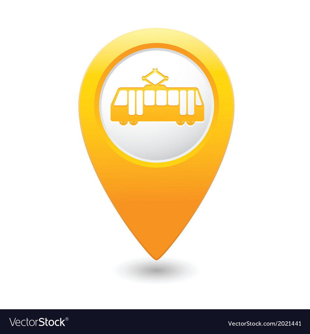 Tram icon yellow map pointer vector | Price: 1 Credit (USD $1)