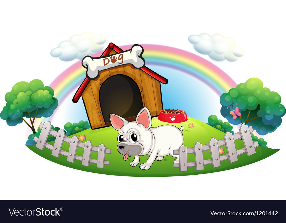 A dog in a doghouse with fence vector | Price: 1 Credit (USD $1)