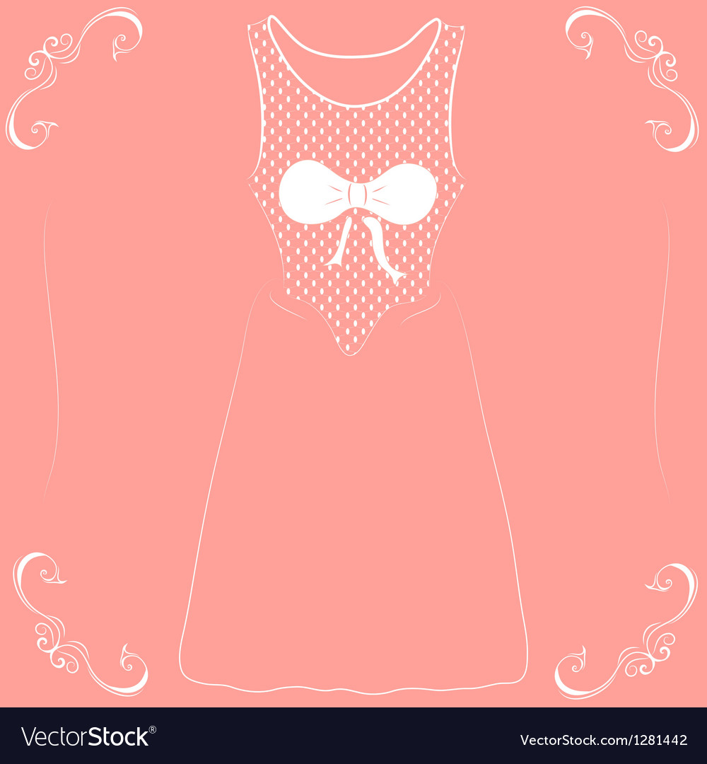 A wedding dress with a bow on a pink background vector | Price: 1 Credit (USD $1)