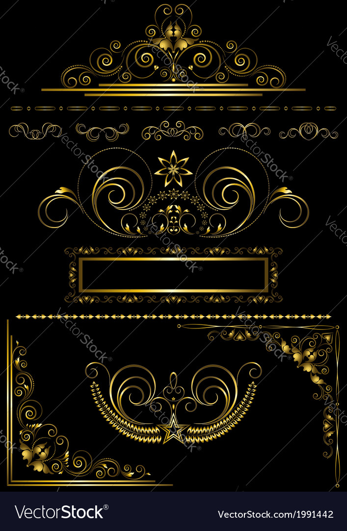 Collection gold frames and calligraphic patterns vector | Price: 1 Credit (USD $1)