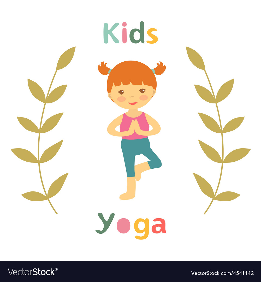 Cute yoga kids card with little girl vector | Price: 1 Credit (USD $1)