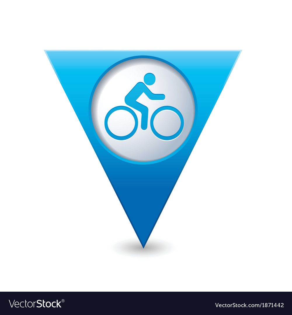 Cyclist symbol map pointer blue vector | Price: 1 Credit (USD $1)