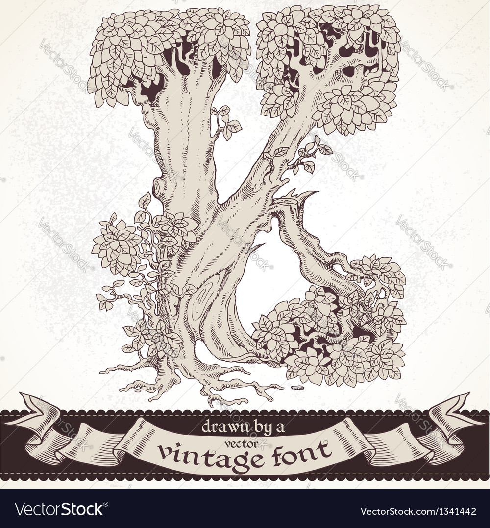 Fable forest hand drawn by a vintage font - k vector | Price: 1 Credit (USD $1)