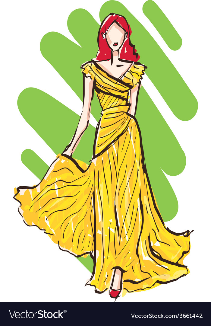 Fashion model sketch in yellow dress vector | Price: 1 Credit (USD $1)