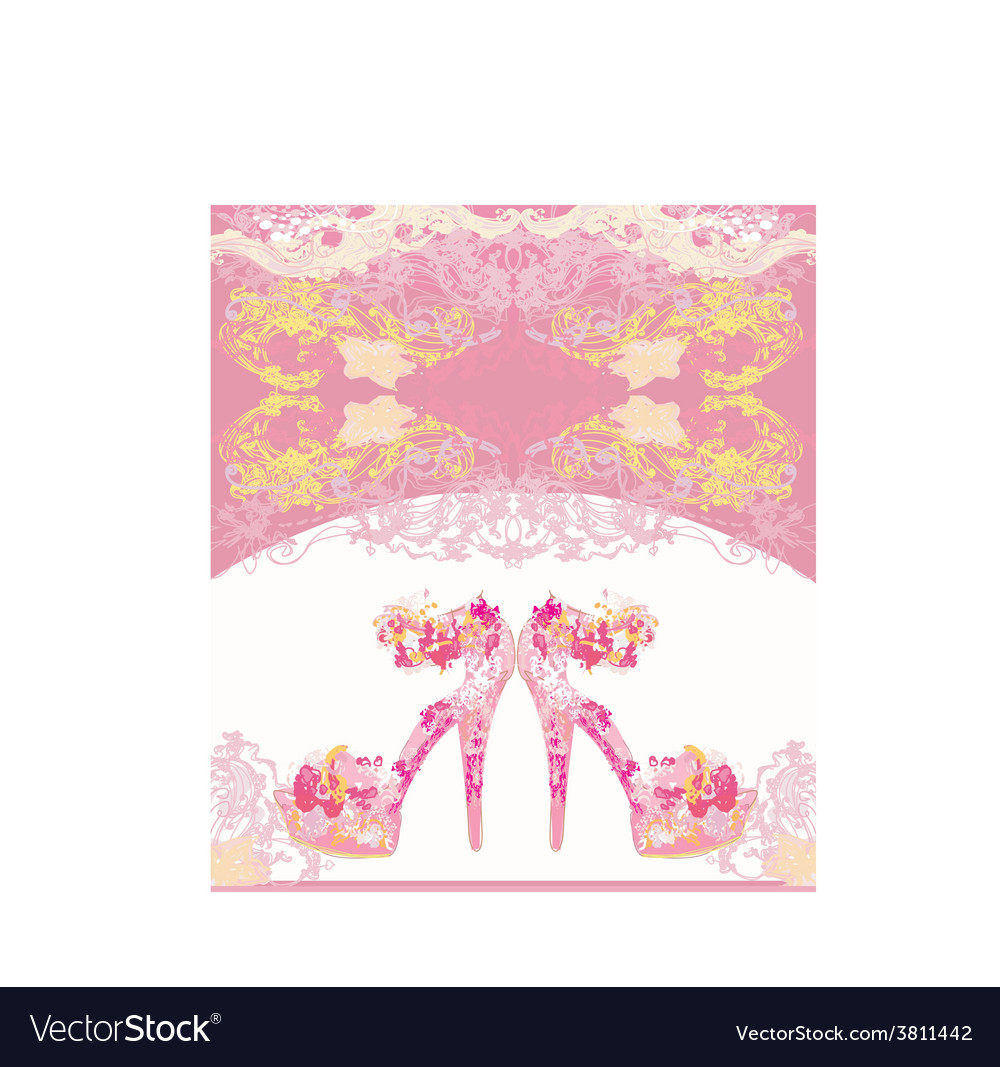 Floral shoes poster - sandals vector | Price: 1 Credit (USD $1)