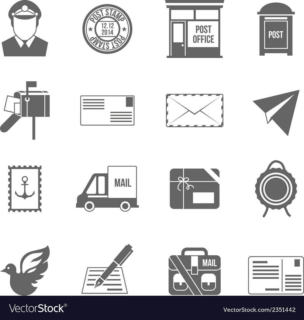 Post service icon black vector | Price: 1 Credit (USD $1)