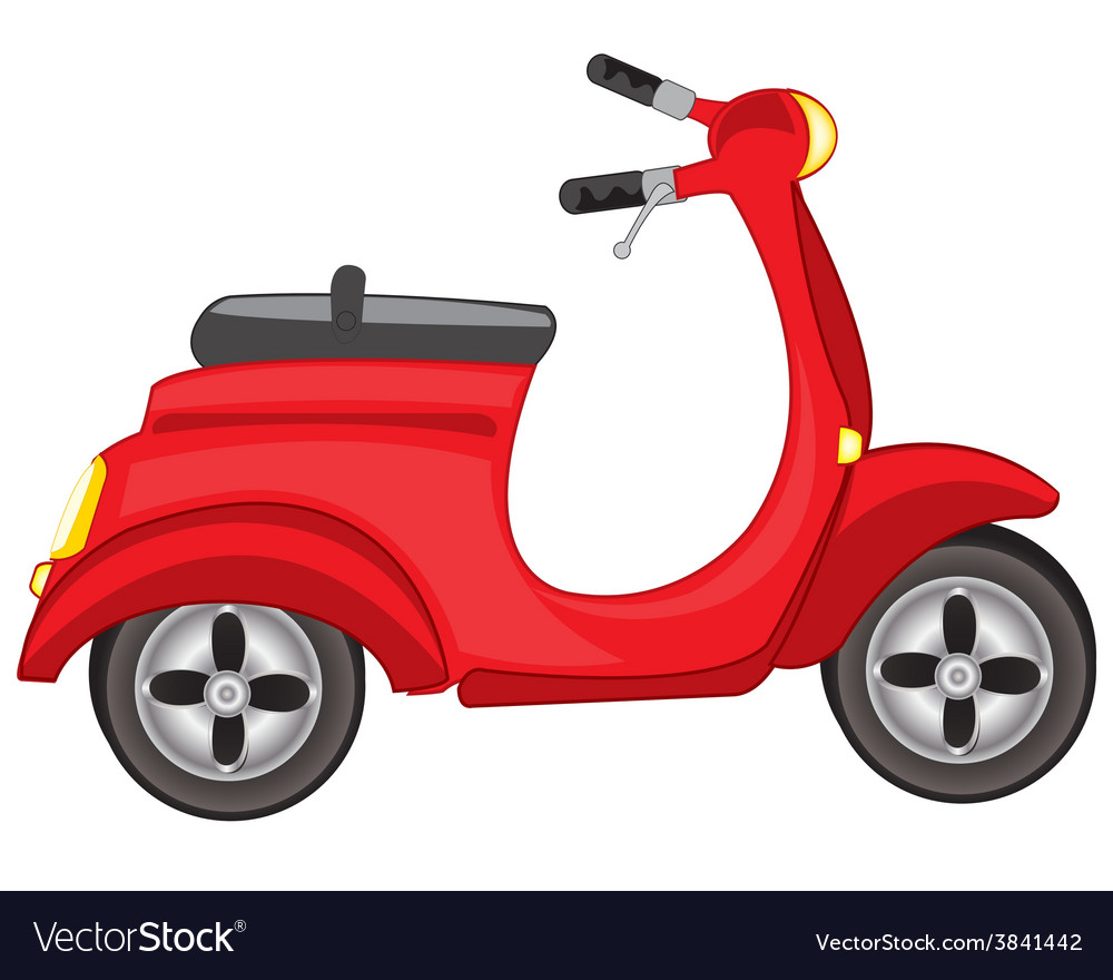 Red motor scooter vector | Price: 1 Credit (USD $1)