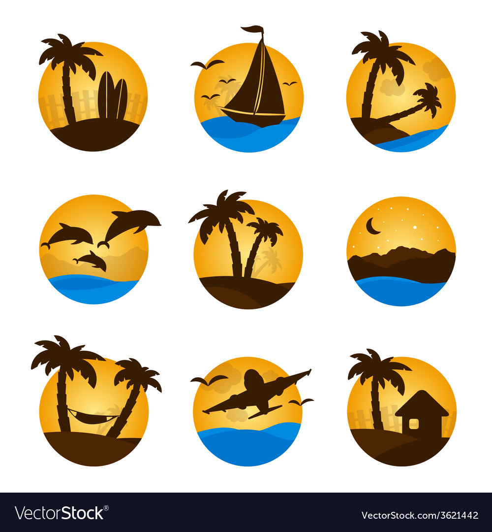 Set tropical flat circle tropical icon palm vector | Price: 1 Credit (USD $1)