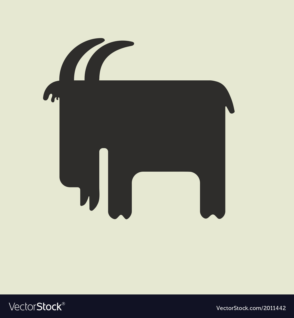 Silhouette of goat with horns standing sideways vector | Price: 1 Credit (USD $1)