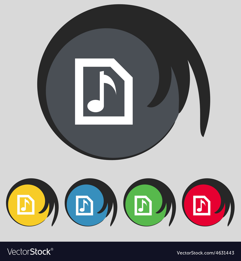 Audio mp3 file icon sign symbol on five colored vector | Price: 1 Credit (USD $1)