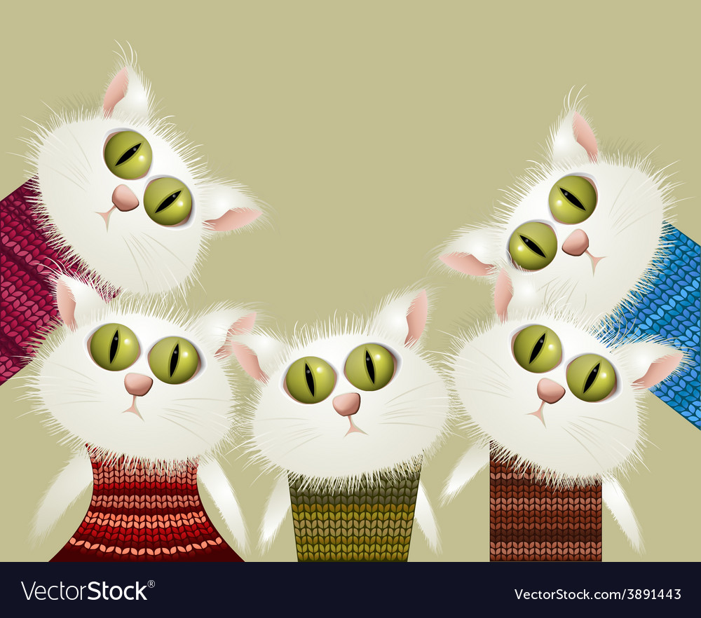 Cats in pullovers vector | Price: 1 Credit (USD $1)