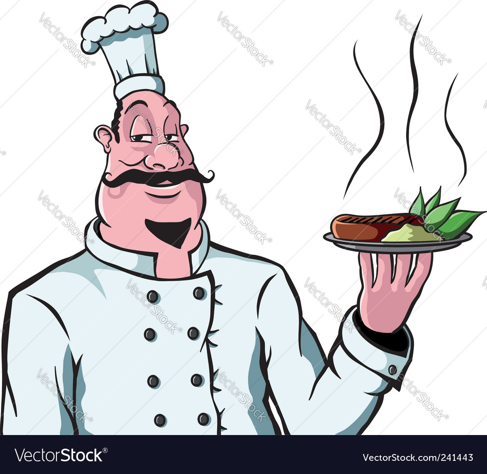 Chef with plate of food vector | Price: 3 Credit (USD $3)