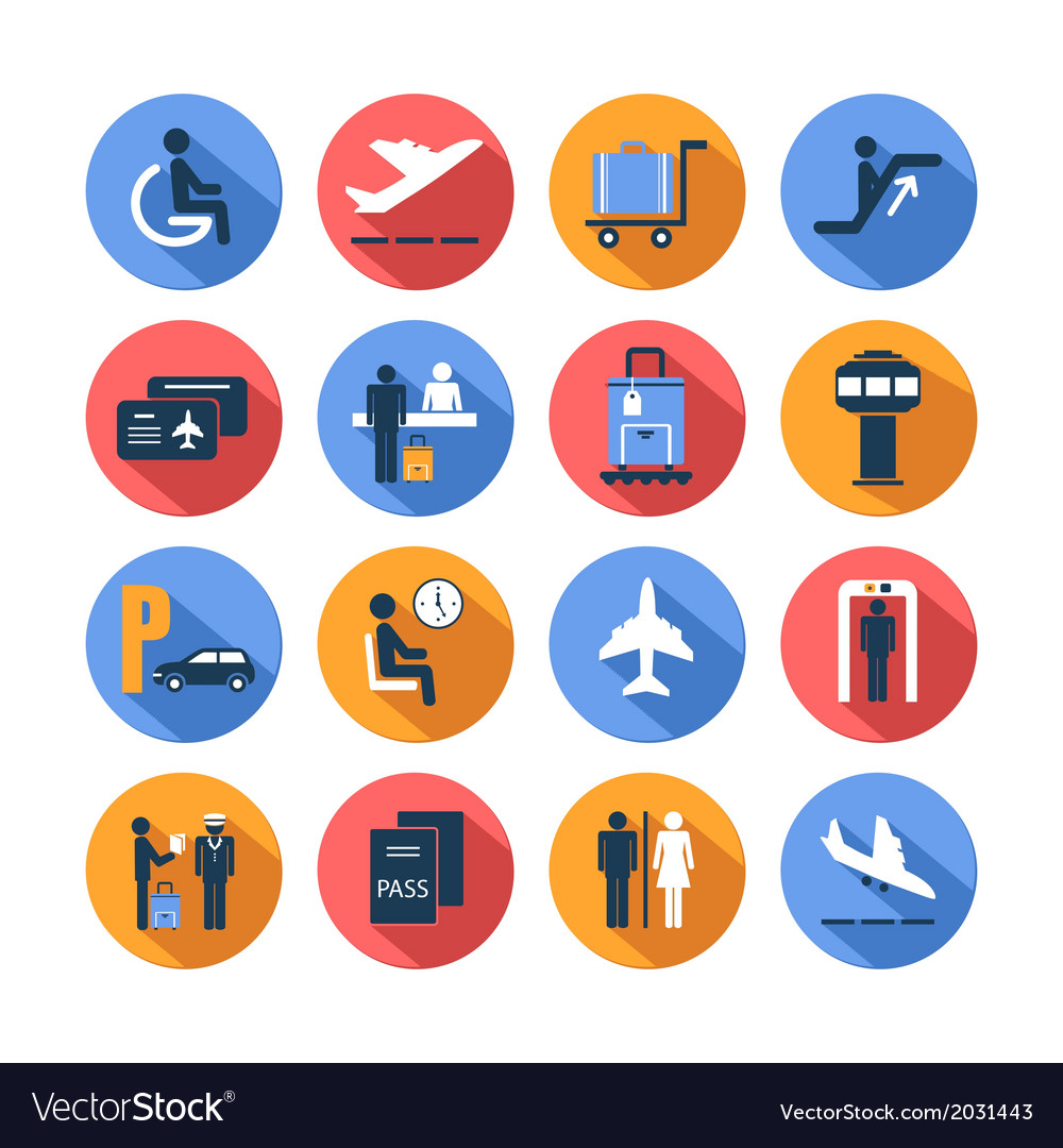 Colored airport icons set vector | Price: 1 Credit (USD $1)