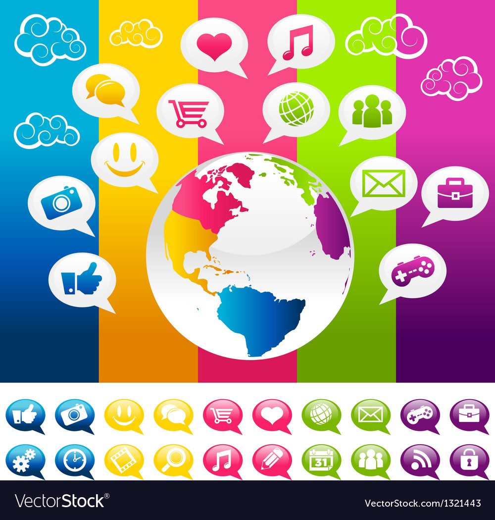 Colorful social media planet earth with icons vector | Price: 1 Credit (USD $1)