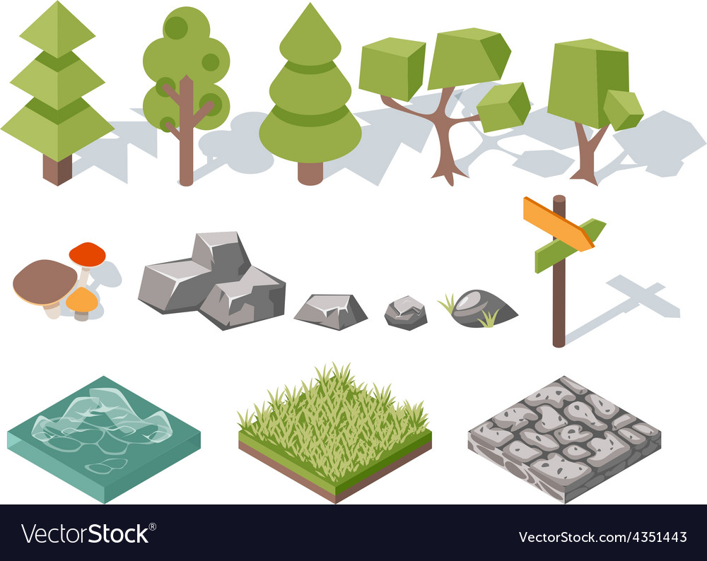 Flat elements of nature trees bushes rocks vector | Price: 1 Credit (USD $1)