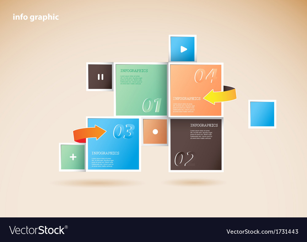 Info graphic squares with place for your text vector | Price: 1 Credit (USD $1)