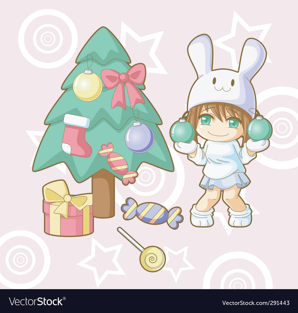 New year white rabbit kawaii vector | Price: 3 Credit (USD $3)