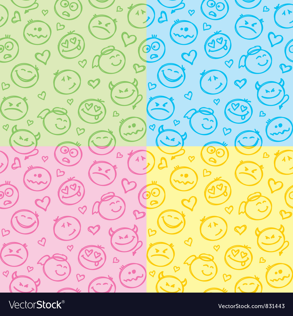 Patterns of smiles vector | Price: 1 Credit (USD $1)