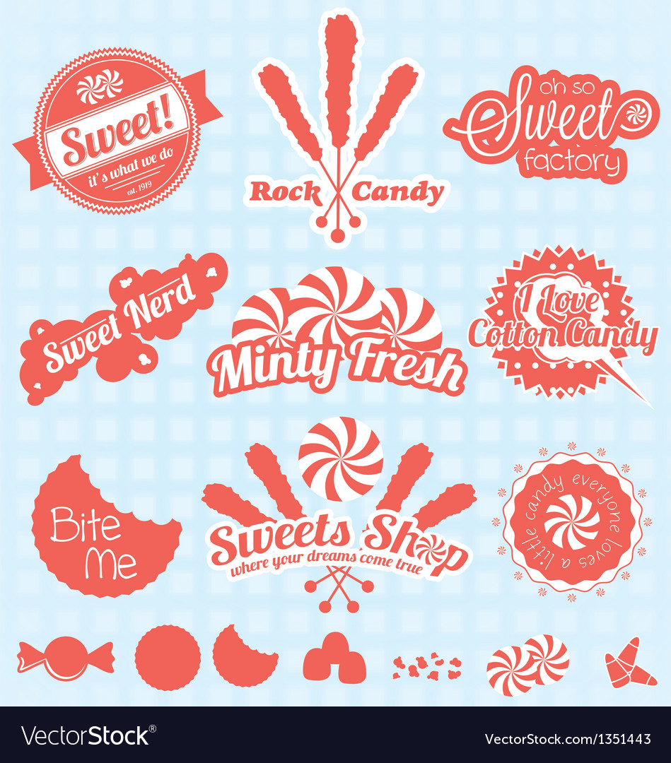 Retro candy labels and icons vector | Price: 1 Credit (USD $1)