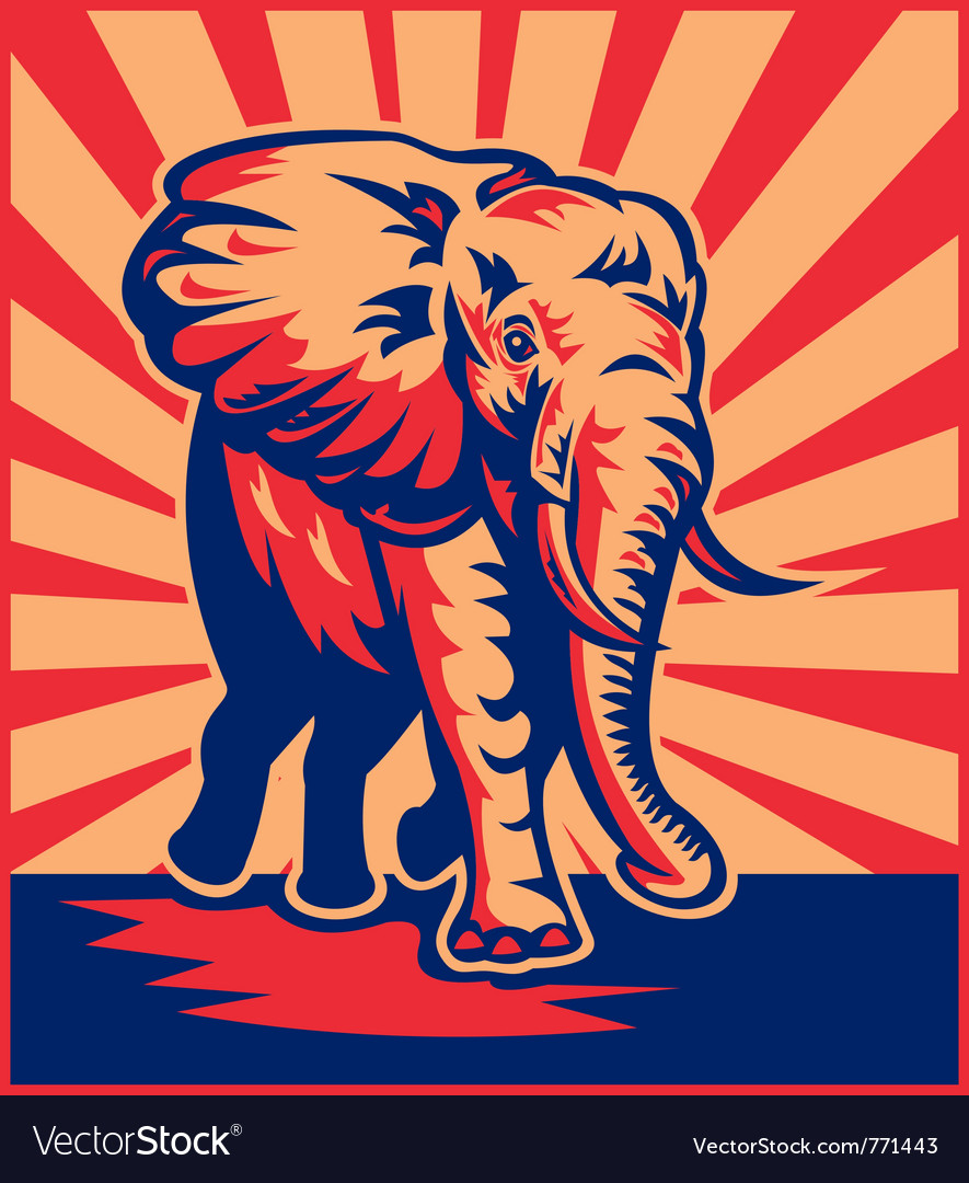 Retro elephant poster vector | Price: 1 Credit (USD $1)